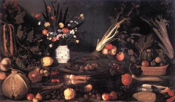 Still Life with Flowers and Fruit religious Baroque Caravaggio flower Oil Paintings